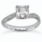 As Shown : Cushion Cut Diamond Measures 5.5 x 5.5mm (Approximately 1.00 tcw)