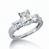 As Shown : Emerald Cut Diamond Measures 7 x 5mm (Approximately 1.00 tcw)