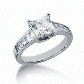 As Shown : Princess Cut Diamond Measures 7 x 7mm (Approximately 1.75 tcw)