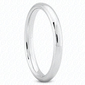 14K White Gold Plain Fitted Wedding Band- ENS2070-B