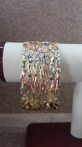 14K Gold Filled Tri-Color Stackable Bangles - Set of 7