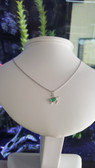 925 Sterling Silver Oval Turtle Cinch Bezel Pendant - Set with Oval Emerald Lab-Created Stone