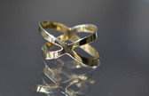 Womens 14K Yellow Gold Plated Silver Criss Cross X Ring Hammered style