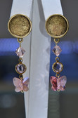 Handmade Swarovski Gold-Plated Pewter 10mm Butterfly Rose Peach 2 Ring Channel Drop Earrings- LC364