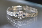 Women's 14K White Gold Vintage Diamond Sapphire Bracelet