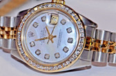 Women's Rolex Datejust President 18K Gold Diamond Watch