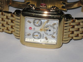 Womens Michele Deco Gold Diamond Chronograph Watch