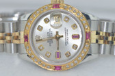 Womens Rolex Datejust Oyster Perpetual 18K Gold Diamond & Rubies Watch