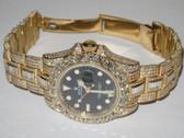 Mens Rolex GMT-Master II 18K Gold Diamond Watch