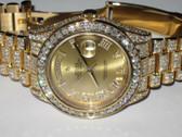 Mens Rolex Day-Date II President 18K Solid Gold Diamond Watch