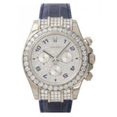 Mens Rolex 18K Solid White Gold Daytona Diamond Watch