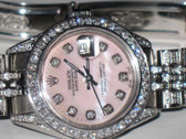 Womens Rolex Datejust Diamond Pink Dial Watch