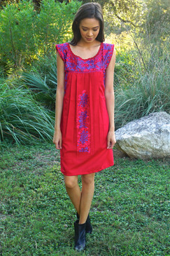 """""""Ave Rojo"""" Mexican Dress"""