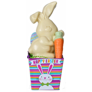 Flop-Eared Bunny Basket - White