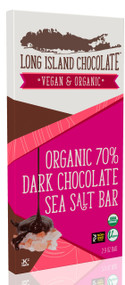 Long Island Chocolate 70% Organic Dark Chocolate Sea Salt Bar (6 Pack)