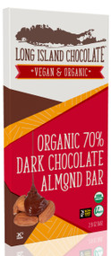 Long Island Chocolate 70% Organic Dark Chocolate Salted Almond Bar (6 Pack)