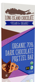 Long Island Chocolate 70% Organic Dark Chocolate Pretzel Bar (6 Pack)