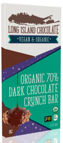 Long Island Chocolate 70% Organic Dark Chocolate Crunch Bar (6 Pack)