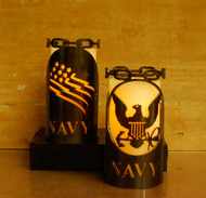 Navy - Metal Candle Holder Luminary