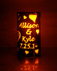 Custom Wedding Love & Hearts - Metal Candle Holder Luminary