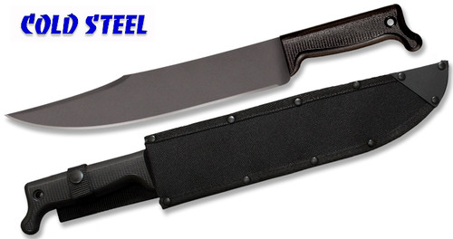 "Cold Steel 97BWM12S Bowie Machete - 12"" Carbon Steel Blade w/Baked-on Anti Rust Black Finish - Polypropylene Handle - Cor-Ex Sheath"