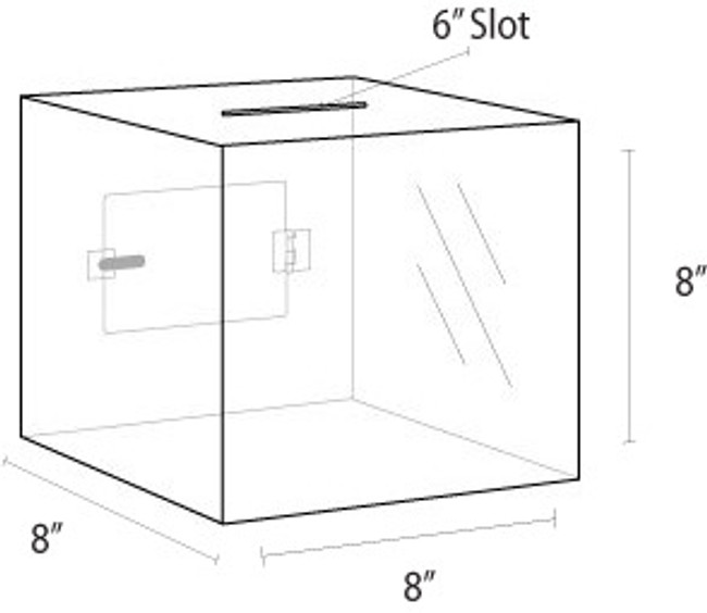 8x8x8 Clear Acrylic Locking Ballot Box