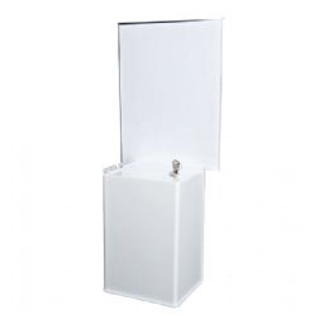 6x9x5 White Acrylic Locking Ballot Box and Header