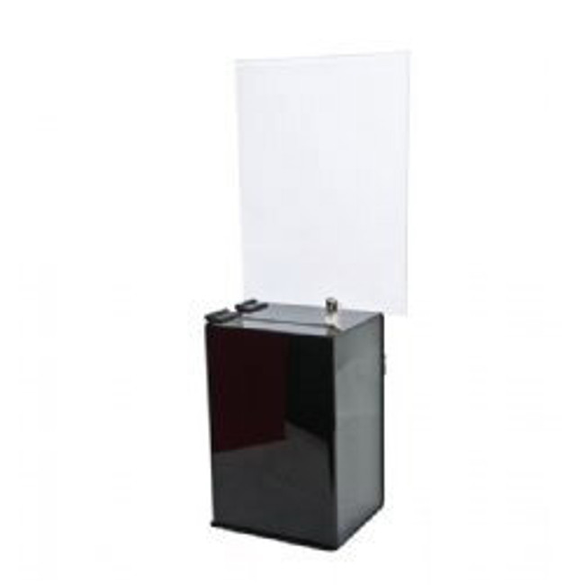 6x9x5 Black Acrylic Locking Ballot Box and Header