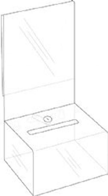 5x3x3 Clear Acrylic Locking Coin Box with Header