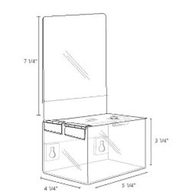 5.25x3.25x4.25 Clear Plastic Locking Box with Header