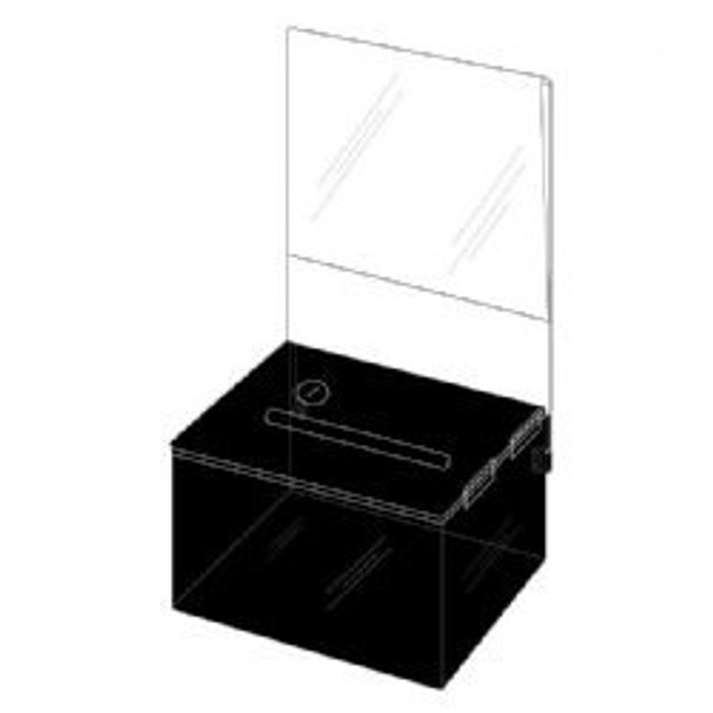5.25x3.25x4.25 Black Plastic Locking Box with Header DS-SBB-534-BLK