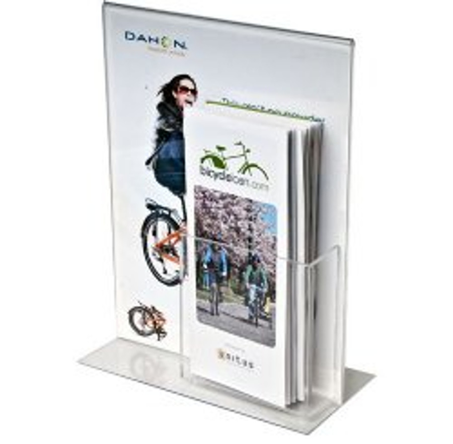8.5x11 Bottom Load Sign Holder with Brochure Pocket