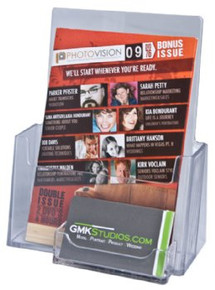 6x8 Clear Acrylic Brochure Holder with BC Pocket