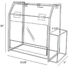 9.5x5x10 Locking Clear Plastic Ballot Box with Pocket and Ad Frame