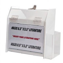 9.5x5x10 Locking White Plastic Ballot Box with Pocket and Ad Frame