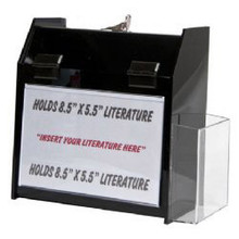 9.5x5x10 Locking Black Plastic Ballot Box with Pocket and Ad Frame