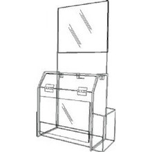 9.5x5x10 Deluxe Locking Clear Plastic Ballot Box with Header and Ad Frame