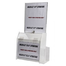 9.5x5x10 Deluxe Locking White Plastic Ballot Box with Header and Ad Frame