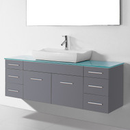 "Virtu USA Biagio 56"" Single Bathroom Vanity Set in Grey 