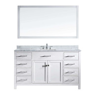 "Virtu USA Caroline 60"" Single Bathroom Vanity Set in White"