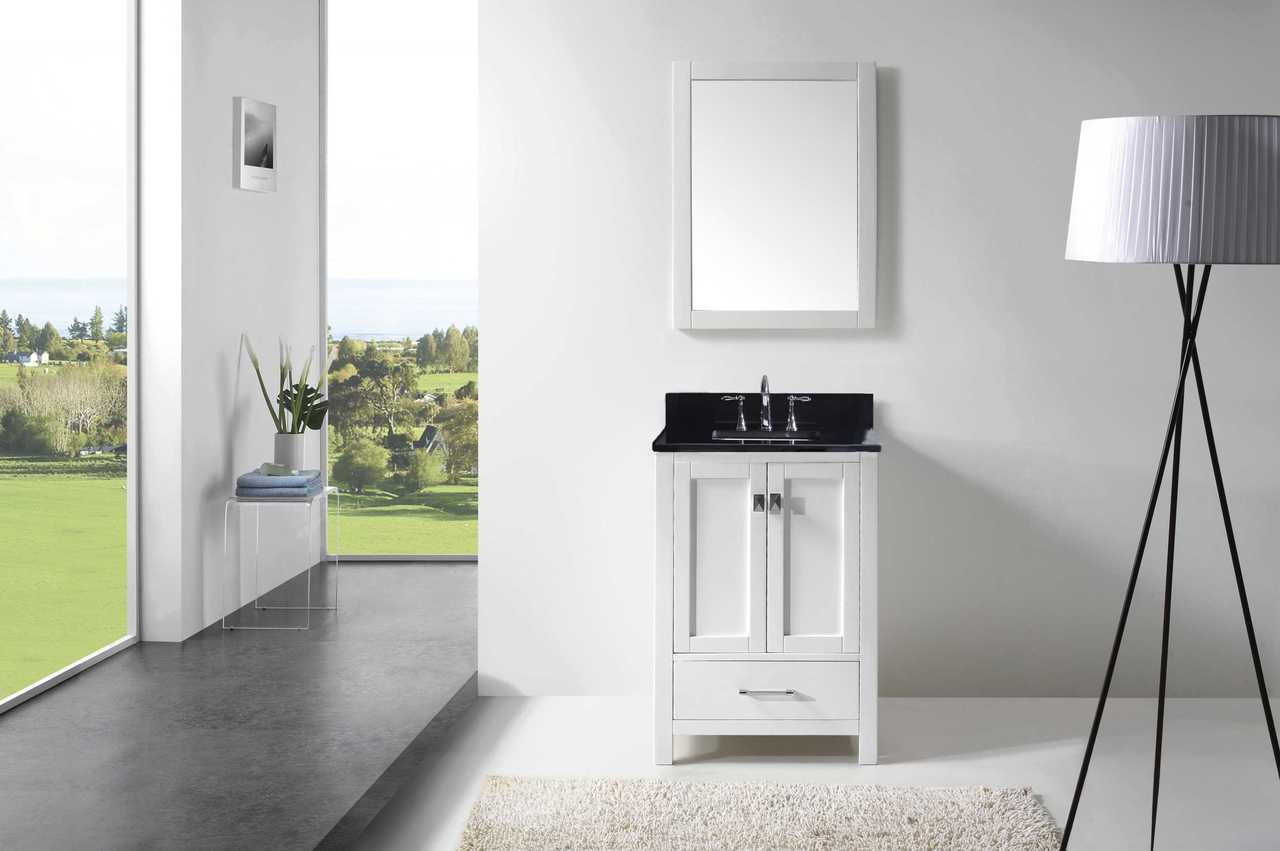 "Virtu USA Caroline Avenue 24"" Single Bathroom Vanity Set in White w/ Black Galaxy Granite Counter-Top 