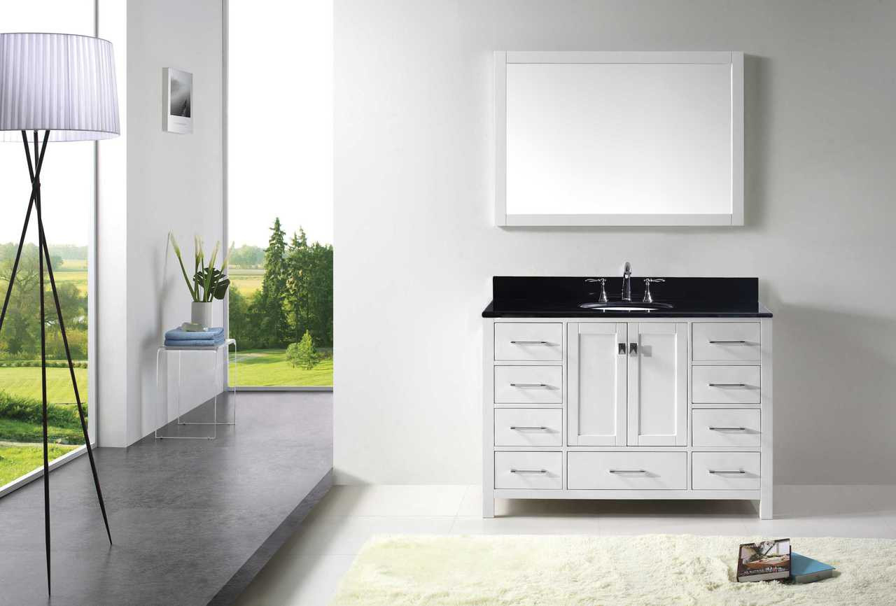 "Virtu USA Caroline Avenue 48"" Single Bathroom Vanity Set in White w/ Black Galaxy Granite Counter-Top 