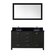 "Virtu USA Caroline Premium 60"" Double Bathroom Vanity Set in Zebra Grey w/ Black Galaxy Granite CounterTop 