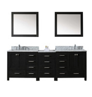 "Virtu USA Caroline Premium 90"" Double Bathroom Vanity Set in Zebra Grey w/ Italian Carrara White Marble CounterTop 