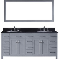 "Virtu USA Caroline Parkway 72"" Double Bathroom Vanity Set in Grey w/ Black Galaxy Granite Counter-Top 
