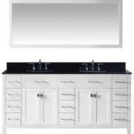 "Virtu USA Caroline Parkway 72"" Double Bathroom Vanity Set in White w/ Black Galaxy Granite Counter-Top 