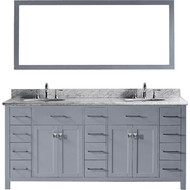 "Virtu USA Caroline Parkway 72"" Double Bathroom Vanity Set in Grey w/ Italian Carrara White Marble Counter-Top 