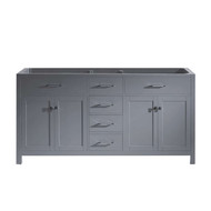 "Virtu USA Caroline Parkway 72"" Double Bathroom Vanity Cabinet in Grey"