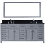 "Virtu USA Caroline Parkway 78"" Double Bathroom Vanity Set in Grey w/ Black Galaxy Granite Counter-Top 