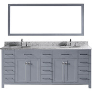 "Virtu USA Caroline Parkway 78"" Double Bathroom Vanity Set in Grey w/ Italian Carrara White Marble Counter-Top 